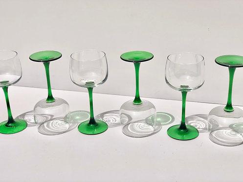 60's luminarc france green stem glasses (set of 6)