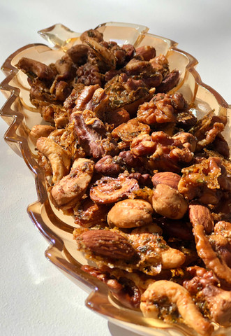salty, sweet, savory, spiced cocktail nuts