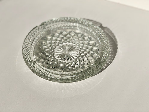 large clear cut glass ashtray