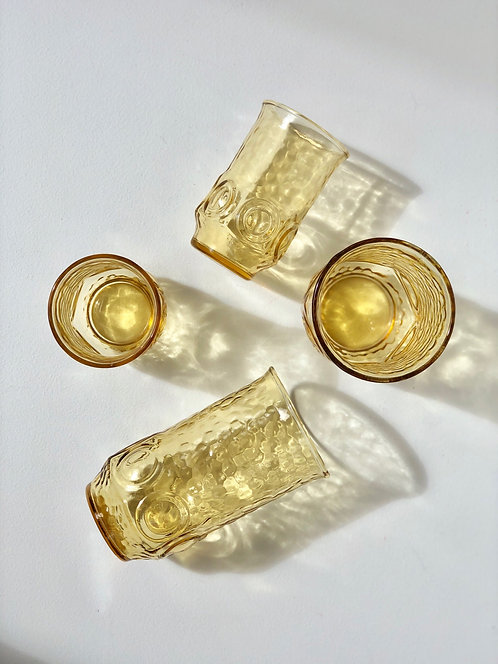 tall + short Anchor Hocking Heritage Hall drinking glasses (set of 4)