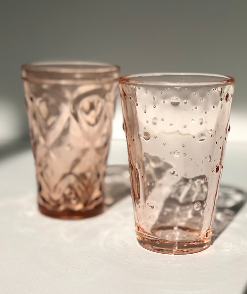 pink juice glasses (set of 2)