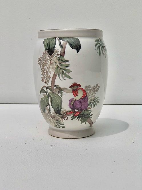 short vase with monkey & trees