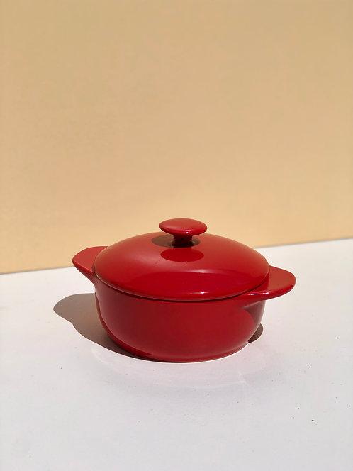 small red ceramic baking dish