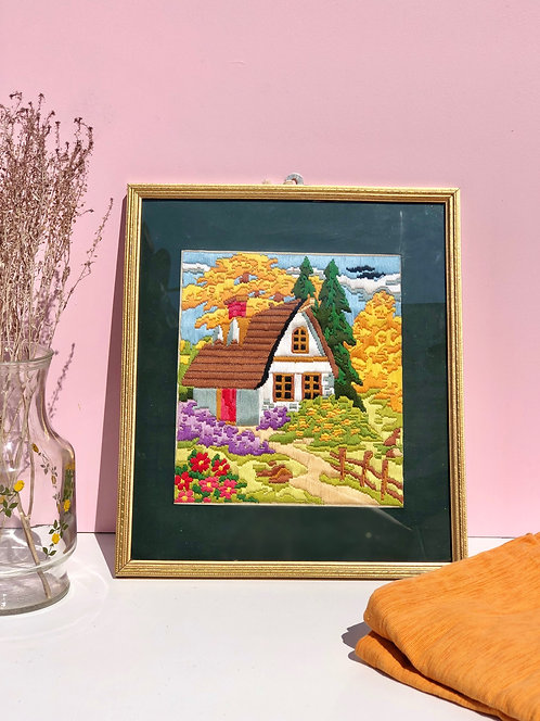 framed cross stitch cottage picture