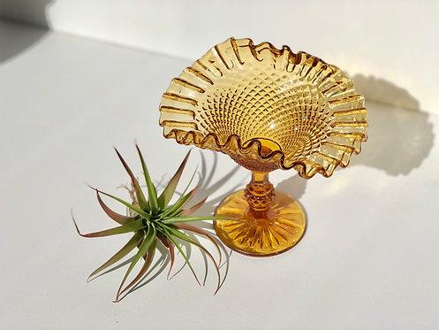 amber glass pedestal catchall