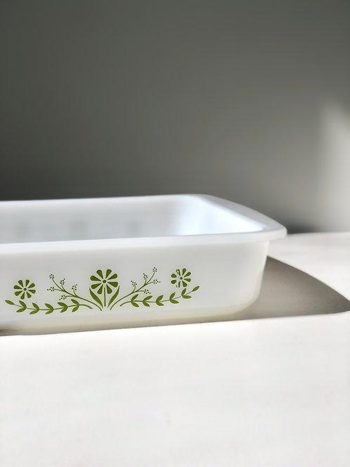 60's white + green square Jeanette Glasbake