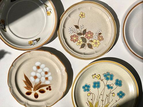 assorted stoneware plates