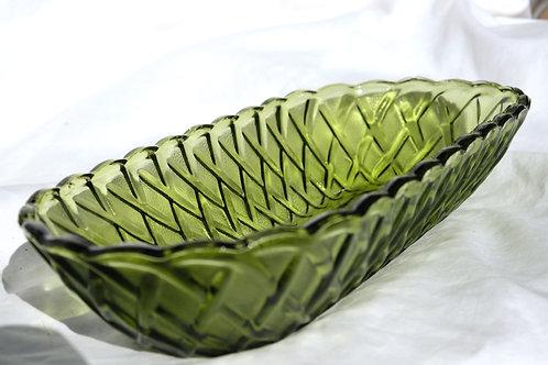 long green lattice glass bowl
