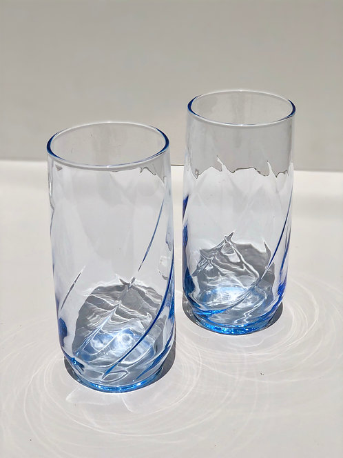 tall blue drinking glasses (set of 2)