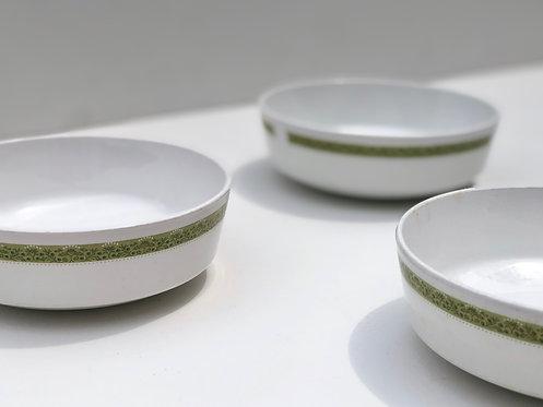 corning lynwood green coupe bowls (set of 3)
