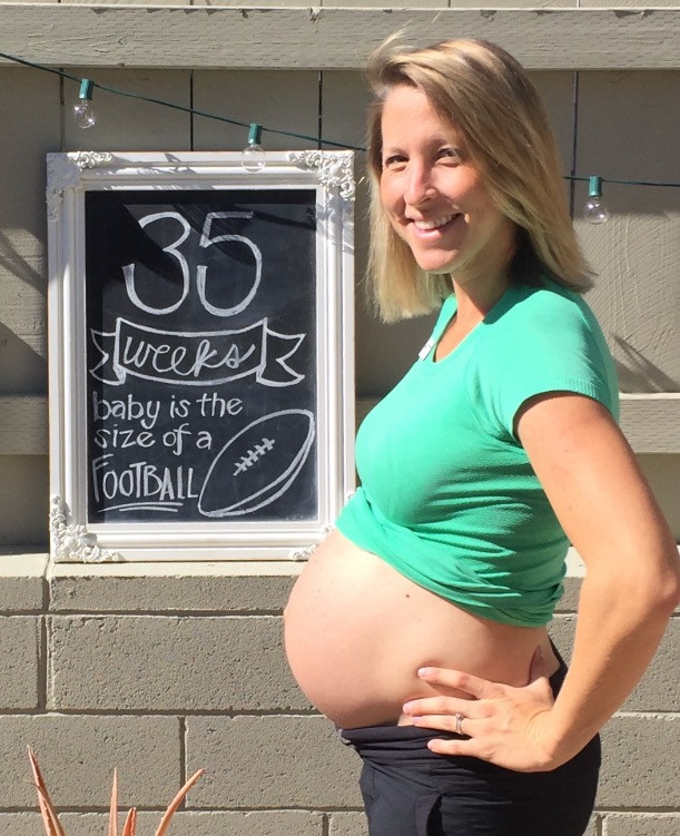 Dr. Leake at 35 weeks (It is Super Bowl weekend after all!)