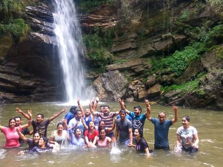 Waterfall near wild roots camp padampuri nainital