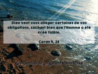 [Le verset du jour] Dieu veut vous alléger certaines de vos obligations.. Coran 4, 28
