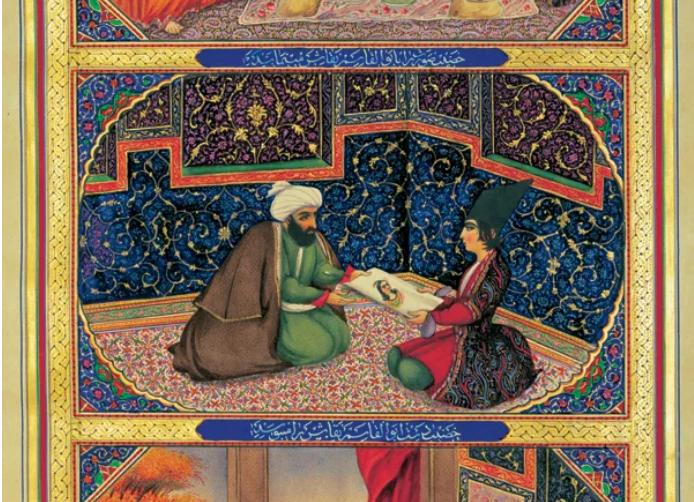 Shéhérazade et le sultan par le peintre persan Sani ol-Molk (1849-1856)