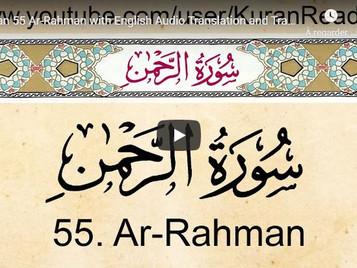 Coran : Lecture en arabe de la sourate 55 (Ar Rahman) par Meshari Al Afassi, traduction en anglais