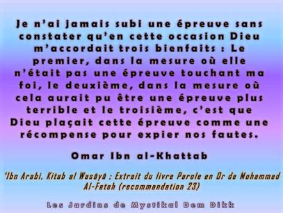 Kitab Al Wasâyâ - Paroles en Or Ibn 'Arabi : Ne prête pas trop attention aux épreuves (23)