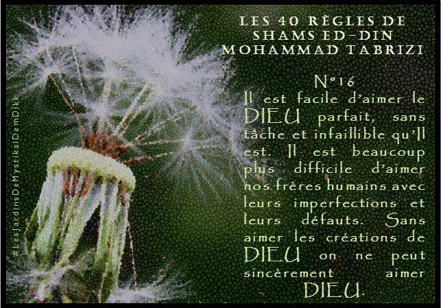 Règle 16 -Les 40 règles de Shams ed-Din Mohammad Tabrizi