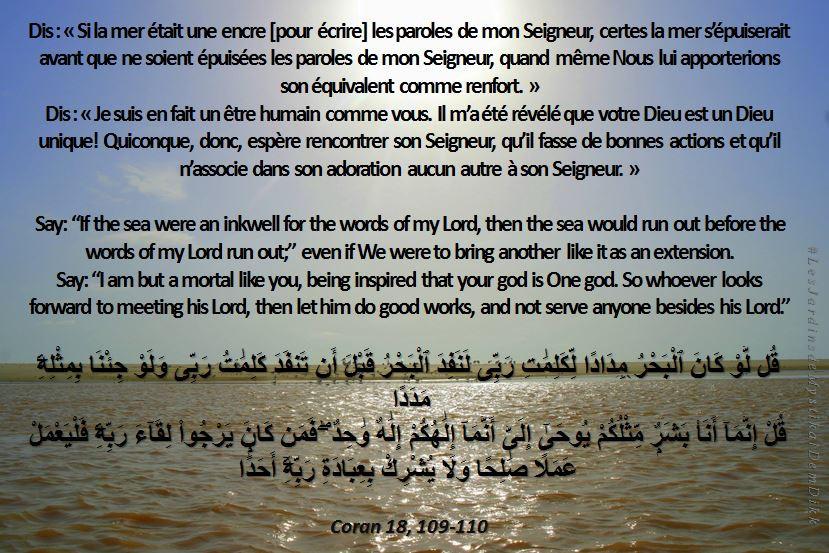 Coran 18, 109-110