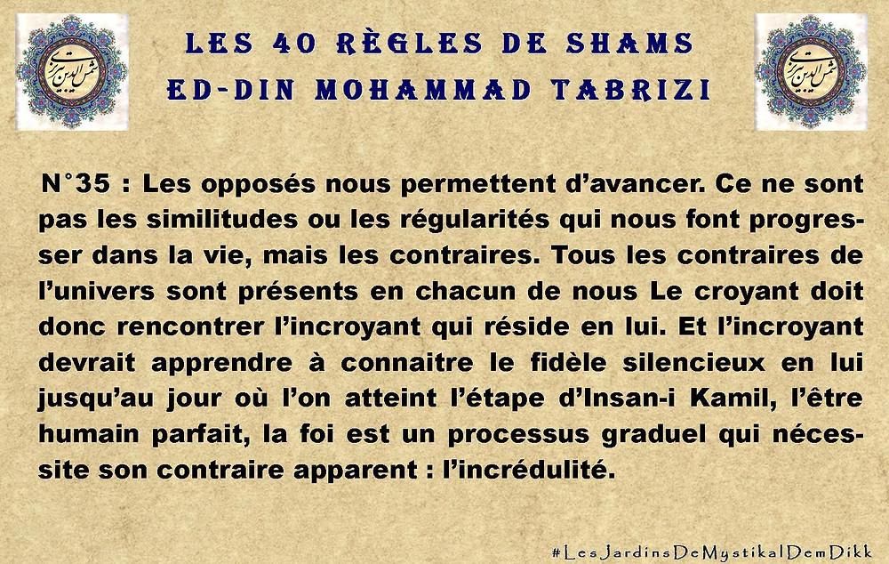 règle 35? Les 40 règles de Shams ed-Din Mohammad Tabrizi