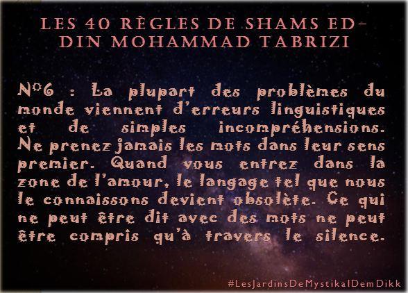 Règle 6 - Les 40 règles de Shams ed-Din Mohammad Tabrizi