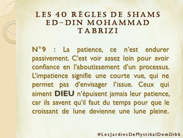 Règle 9 - Les 40 règles de Shams ed-Din Mohammad Tabrizi