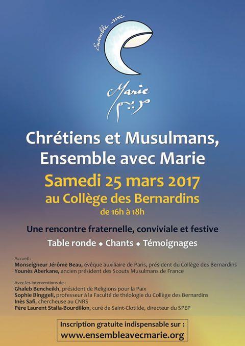 Flyer de la rencontre Chrétiens et Musulmans, ensemble avec Marie 2017