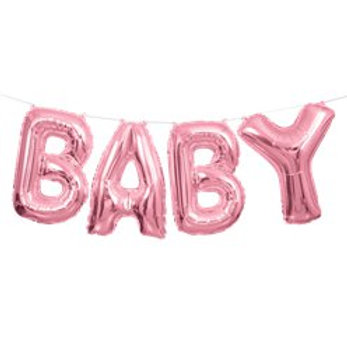 """Baby Pink Phrase Balloon Bunting - 14"""" Foil"""