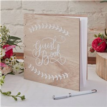 Rustic style wooden Guest book