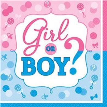 Gender Reveal Paper Napkins - 33cm