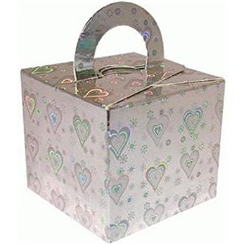 Holographic Silver Heart Cube Balloon Weight/Favour box (10pk)