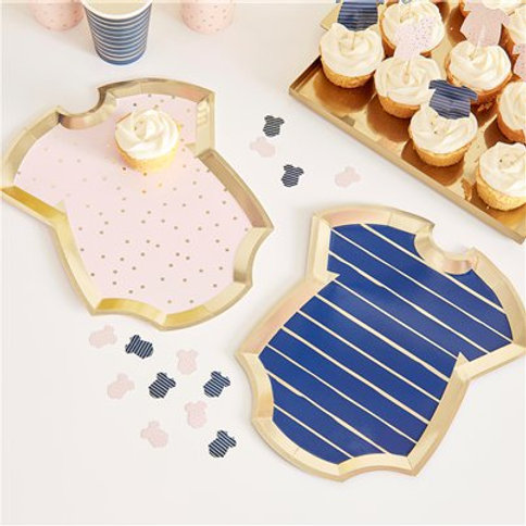 Gender Reveal Navy & Pink Baby Grow Shaped Plates