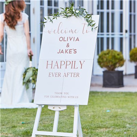 Botanical Wedding Welcome Sign - 85cm