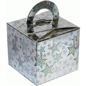 Holographic Silver Star Cube Balloon Weight/Favour Boxes (10 pk)