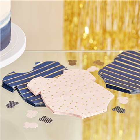 Gender Reveal Navy & Pink Baby Grow Shaped Napkins (16pk)