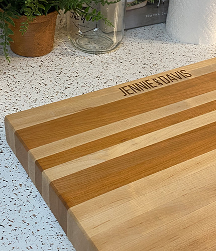 This is a cutting board we made to sell to realtors as closing gifts for clients.