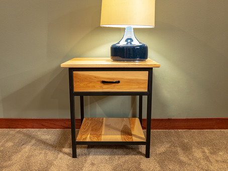 Hickory and Black Metal Nightstands
