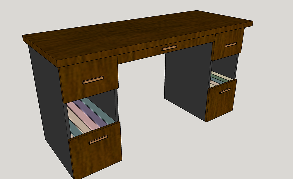 We created the client's custom walnut desk in Sketchup.