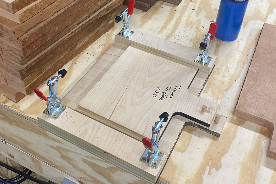 This is our plywood charcuterie board jig to use on our router.