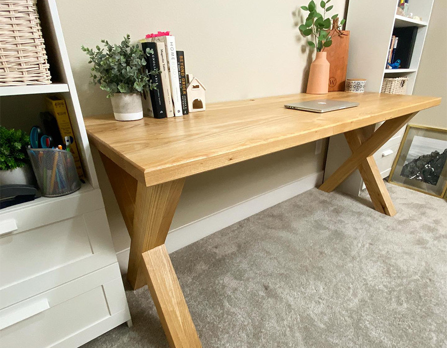 This is a solid wood custom farmhouse modern desk that we made for clients who are working from home.