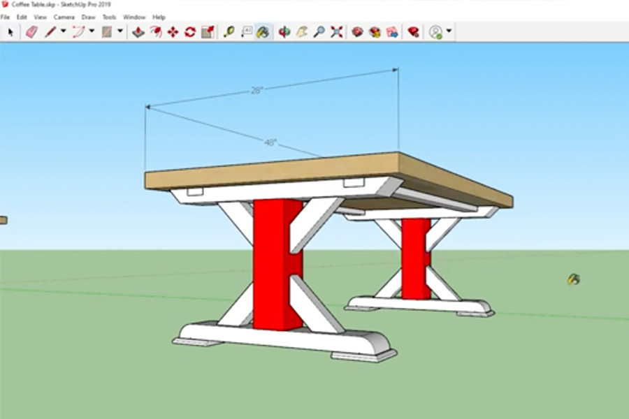 Using Sketchup, we created a coffee table design that we liked and wanted to build.