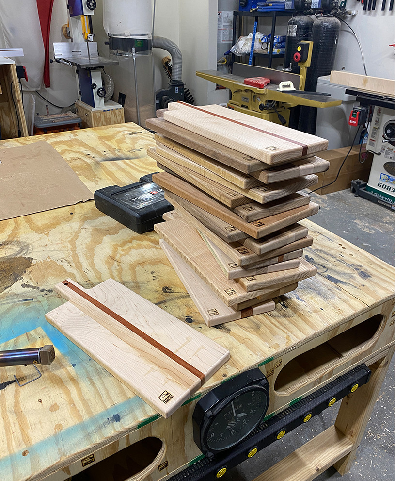 These are charcuterie boards we built using a template that we created ourselves.