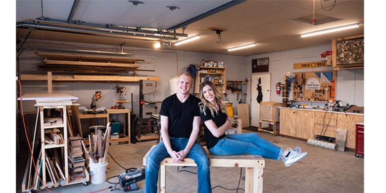 We're Jennie and Davis. We're a young couple building a woodworking and furniture business who wants to help others learn how to build one as well.