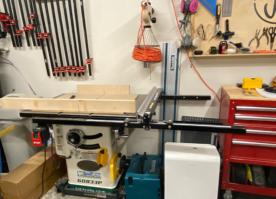 This is our Grizzly table saw that we use to build our woodworking projects.