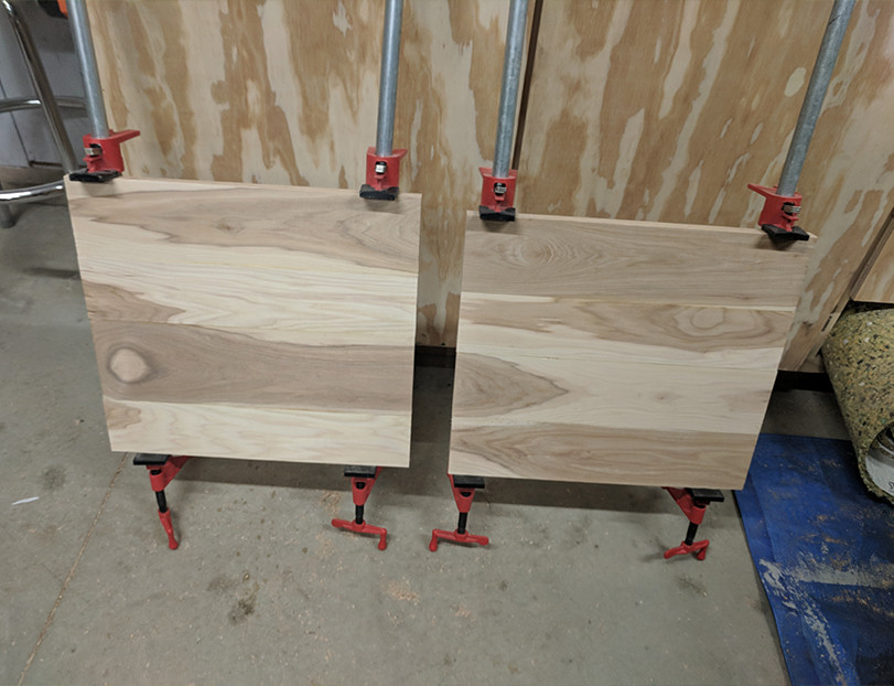 These are the hickory panels that we glued up for the Ikea Hack Chair Seats.