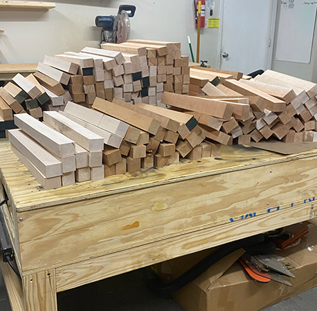 We cut all of our milled lumber into strips that we glued up to create our cutting board blanks.