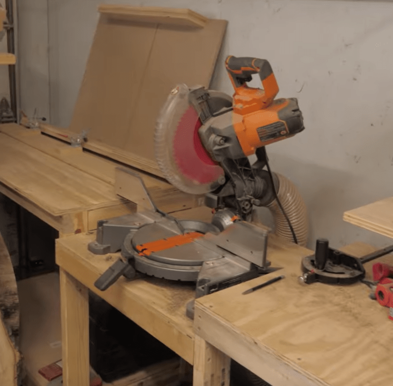 This is our 10 inch miter saw that we bought as our second tool to fill our shop as we started our woodworking hobby and eventually business.