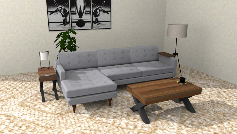 This is a 3D model in Sketchup of some custom living room furniture we are going to make for a customer.
