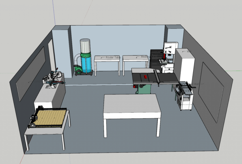 This is the Sketchup image of how we decided to lay out our woodworking shop.
