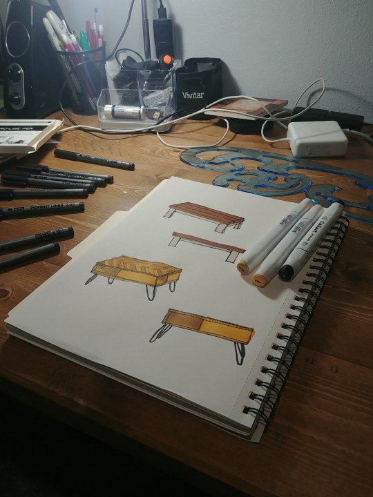 These are the sketchbooks and markers we used to sketch our furniture builds for clients.