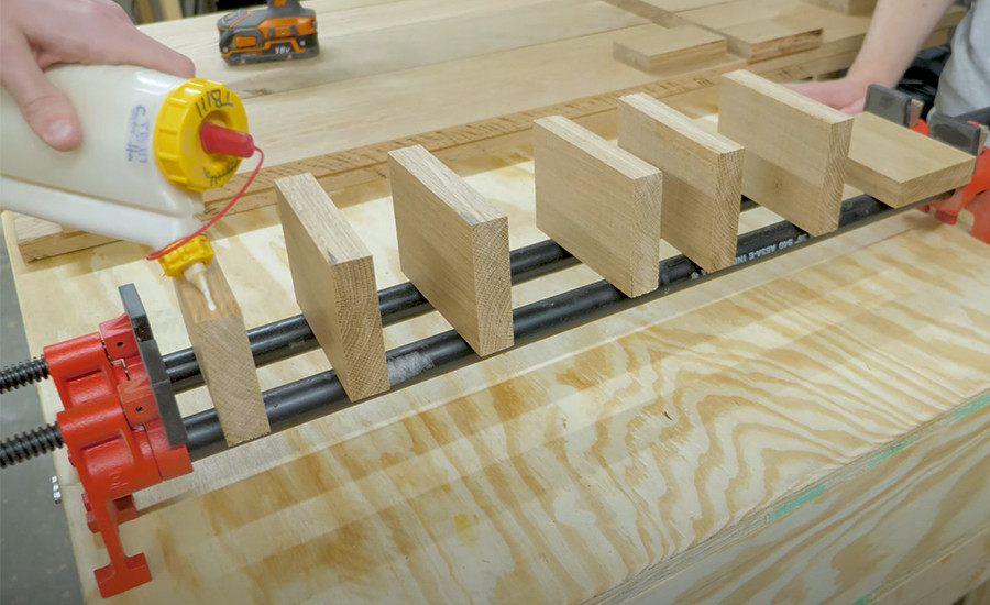 This is an oak glue up for a coffee table we're building for our woodworking business.